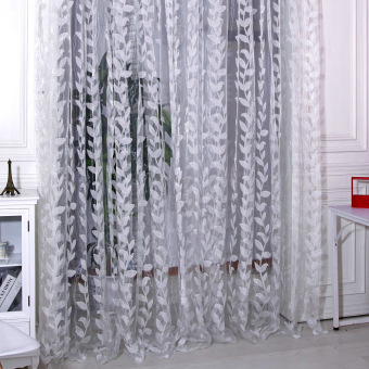 New Floral Tulle Voile Door Window Curtain White