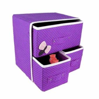 New Folding 3 Drawer Fabric Storage Box Organizer - 5