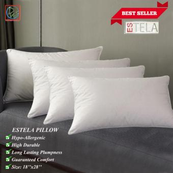 New Improved Microfiber Estela Budget Pillow Hypoallergenic Pillow 18''x28'' (White) Set of 4