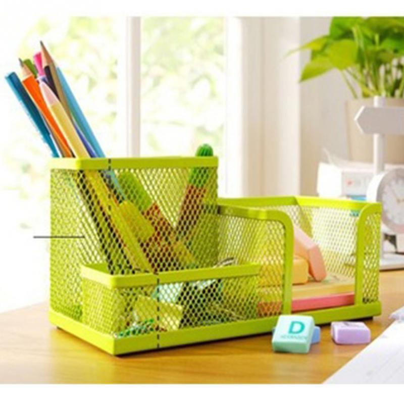 New Metal Desktop Storage Box Organiser Pen Card Office Stationeryholder Home House Bathroom Desk Organizer Yellow