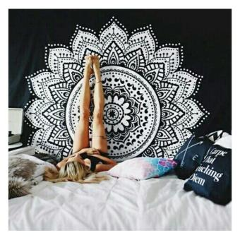 New Printed Tapestry Mandala Wall Art, Hanging Wall Tapestry forWall Decoration Hippie Tapestry Beach Towels,Black and White,150X150CM - intl