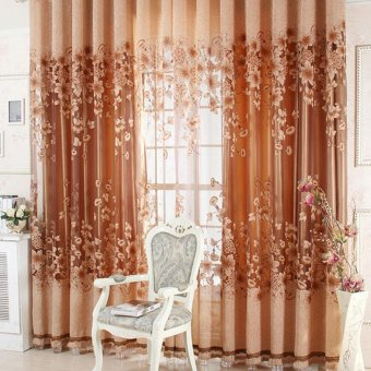 New Sheer Curtain Panel Drape Floral Window Balcony Room coffee - intl