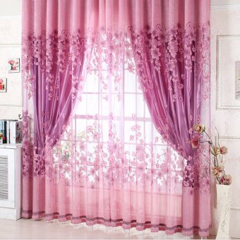 New Sheer Curtain Panel Drape Floral Window Balcony Room Purple