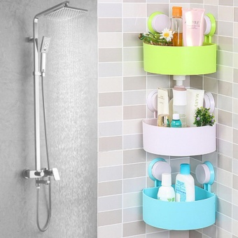 New Suction Cup Bathroom Kitchen Corner Storage Rack Organizer Shower Shelf - intl