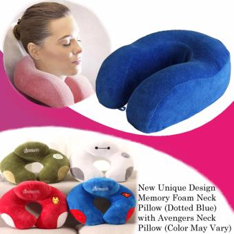 New Unique Design Memory Foam Neck Pillow (Dotted Blue) with Avengers U Shaped Travel Pillow Neck Support Head (Color May Vary)