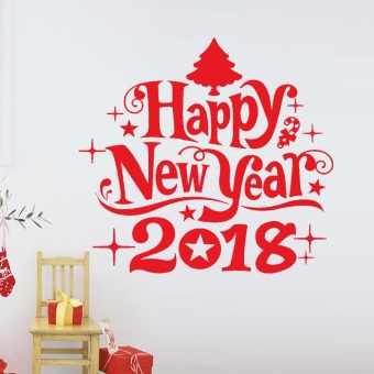 New Year 2018 Merry Christmas Wall Sticker Home Shop Windows DecalsDecor - intl