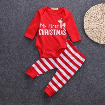 Newborn-Infant-Kid-Baby-Boy-Girl-Christmas-Romper-Jumpsuit-Clothes-Outfits+Pants(3-6Months)- intl