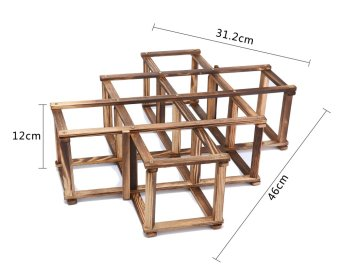 niceEshop Creative Foldable 10 Bottle Wooden Wine Rack OrganizerDisplay Shelf (Carbonized Color) - 3