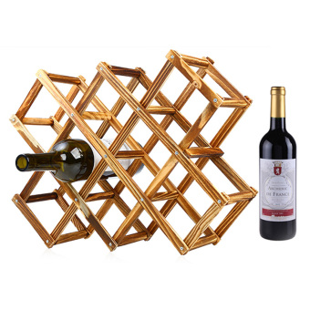 niceEshop Creative Foldable 10 Bottle Wooden Wine Rack OrganizerDisplay Shelf (Carbonized Color)