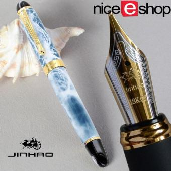 niceEshop Luxury Jinhao M Nib 18KGP Fountain Pen(Blue & White Marble)