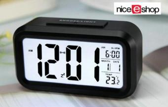 niceEshop Silent LED Alarm Clock With White Night Light Date Temperature (Black) Price Philippines
