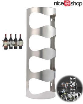 niceEshop Wine Rack Storage Organizer,4 Bottles Hold StainlessSteel Wall Mounted Wine Rack - intl