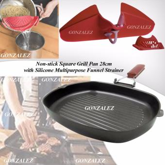 Non-stick Square Grill Pan 28cm) with Silicone Multipurpose FunnelStrainer (Red)