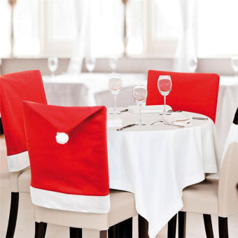 Non-woven cloth Christmas cap hotel dining table seat cover chair cover