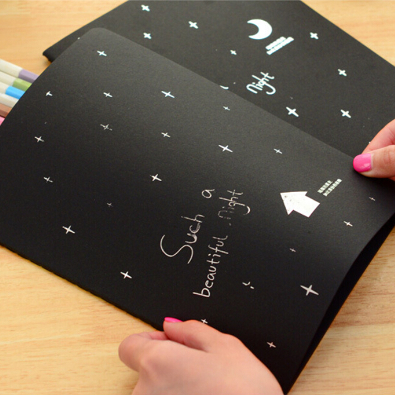 ... Notebook Diary Black Paper Notepad Sketch Graffiti Notebook for Drawing Painting 56K - intl ...
