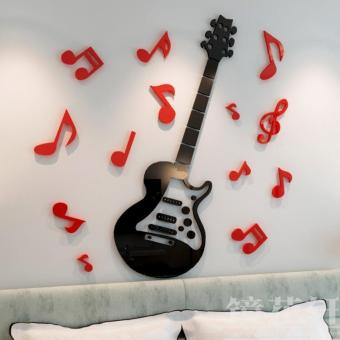 Notes 3D crystal acrylic Dimensional Wall stickers guitar