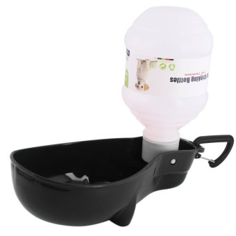 Nunbell 300mL Pet Dog Cat Automatic Water Bottle Feeder DispenserBowl (Black)