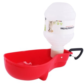 Nunbell 300mL Pet Dog Cat Automatic Water Bottle Feeder DispenserBowl (Red)
