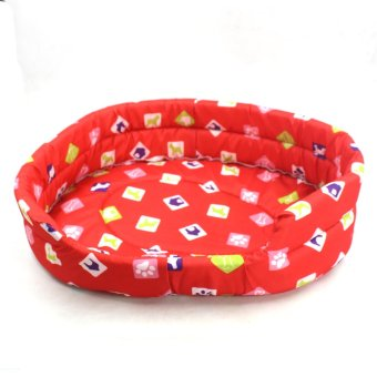 Nunbell Large Dogs Paws and Bones Pet Dog Bed (Red) Giga 61x52x15cm