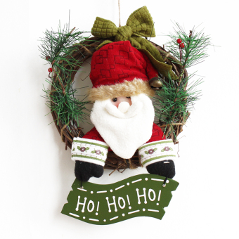 Nuo Qi 30cm plush Christmas rattan ring doll Christmas wreath