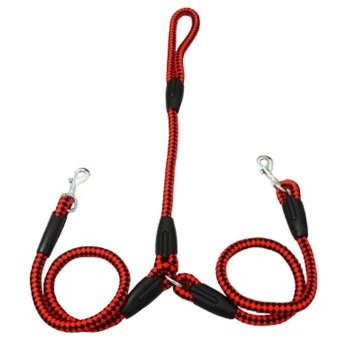 Nylon Double Dog Leash Coupler for 2 Small Medium Sized Dogs(Balckand Red, S)