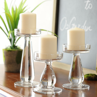 O2 retro glass crystal candle table candle holder cup