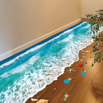 Ocean 3D beach waterproof bathroom floor stickers affixed adhesive paper