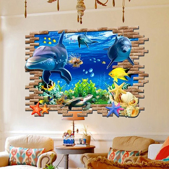 Ocean 3D living room sofa background wall sticker dolphin