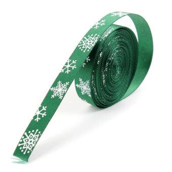 OEM Multi-Pattern 5 Yards 3/8''10mm Merry Christmas Tree Grosgrain Ribbon Gift Decor (Green) - picture 2