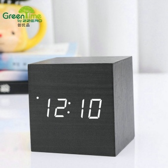 Office Electronic Digital Led Digital Wooden Projection Desk Table Temperature Sounds Control Projector Alarm Clock - intl