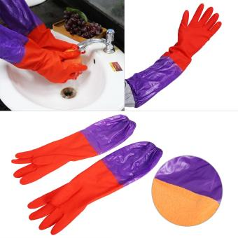 One Pair Of Long Warm Latex Washing Gloves Waterproof For Winter Househeld Kitchen Cleaning Hot - intl - 2