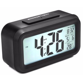 Optically Controlled LCD Device Alarm Clock (Black)