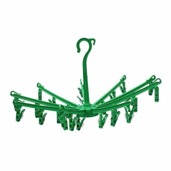 Oriental 8011 Clothes Hanger Round Foldable With 27 Removable Clips (Green)