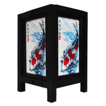 Oriental Wooden Lamp - Koi (Blue)