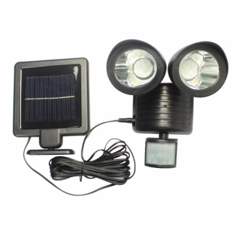 Outdoor 22 LED Solar Powered Dual Head Motion Sensor Garden Light Security Lamp - intl