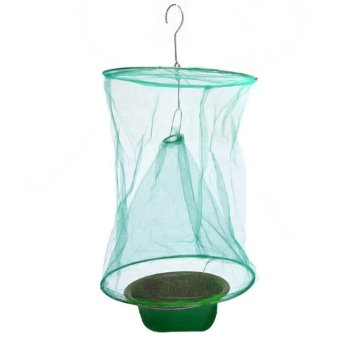 Outdoor Gardening Hanging Folding Reusable Drosophila Fly InsectTrap Net Catcher Killer Cage with Bait Storage Pot