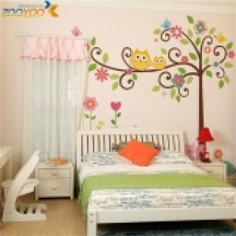 Owl Vinyl Wall Stickers Animal Tree Nursery Baby Kids Room Decal Home Decor - intl