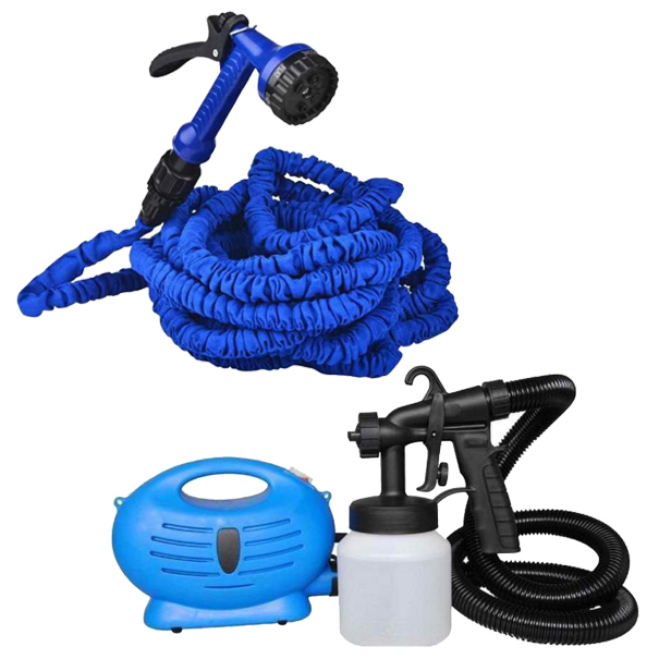 Paint Zoom Sprayer with Expandable Flexible Garden Hose 50 feet(Blue)