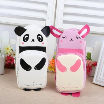 Panda Rabbit Canvas School Student Pen Pencil Bag Makeup CosmeticPouch Bag Case Black - intl