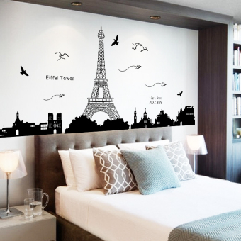 Paris tower bedroom bedside adhesive paper wall stickers