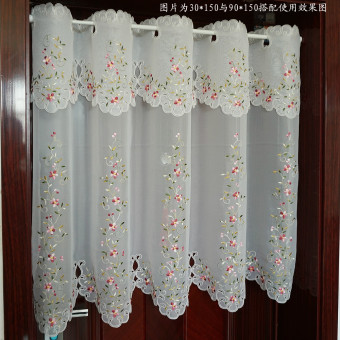 Pastoral embroidered finished product coffee curtain