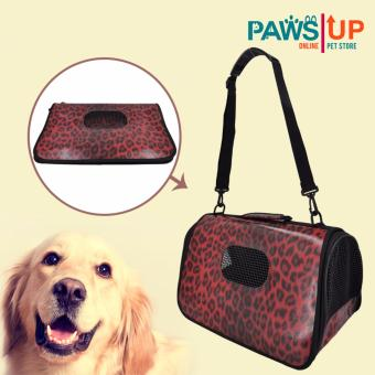 Paws UP Portable Foldable Dog Cat Pet Carrier Travel Bag CageAnimal print design (Red)