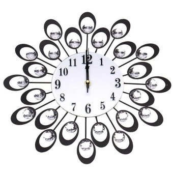 Peacock Shape Large Wall Clock Home Living Room Decor color:Black -intl