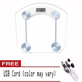 Personal Digital Tempered glass thicker version Weighing Scale withUSB Cord (color may vary)