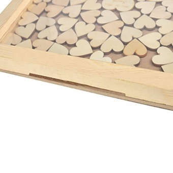 Personalized Wooden Frame wedding Guest Book,Customized Wedding Drop Box with 120 small wood hearts,Wedding Guestbook Gift - 2