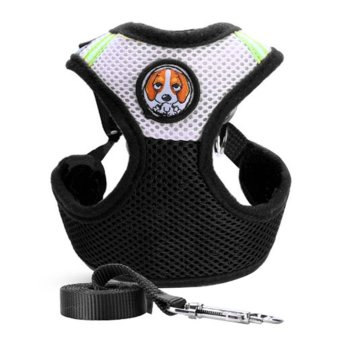Pet Dog Collars Puppy Leash Vest Mesh Breathe AdjustableHarness(Black S) - intl