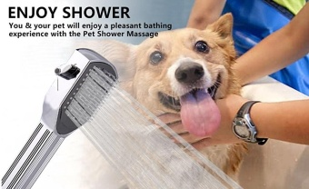 Pet Dog Shower Head with Brush and Scraper, ON/OFF ControlIndoor/Outdoor Grooming Shower Brush - intl