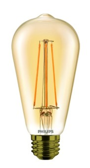 Philips Dimmable Amber Coated LEDClassic 7-60W ST64 E27 2000K GOLD APR LED Bulb