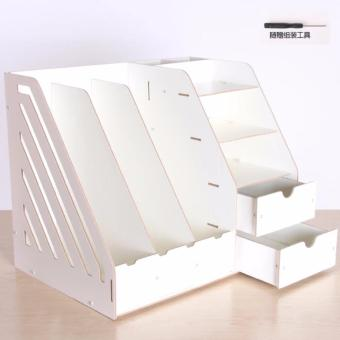 Phoebe's Diy Wooden Office File Rack Magazine Book Desktop Organizer with Drawer(White)