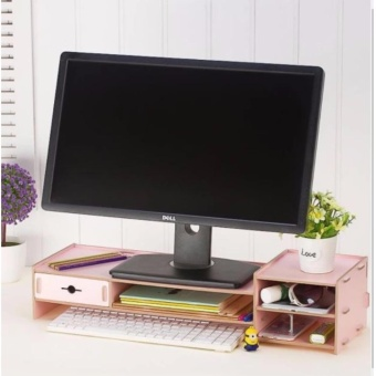 Phoebe's DIY Wooden Monitor Stand Riser with Laptop Cellphone TVPrinter Stand Desktop Container Organizer XY01 - (Pink)